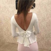 Roupas Femininas Blusa Peplum Babado Costa Nua Com Laço Moda