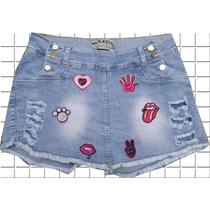 Short-saia Plus Size Lycra C/ Patch Bordado