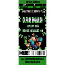 Minecraft Invitacion Personalizada Ticket Digital Promo