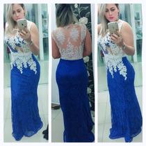 Vestido De Renda Longo Detalhe Em Tule E Guipir Lindo !!!