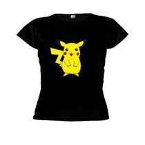 Camiseta Baby Look Desenho Pokémon - Pikachu-feminino