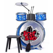 Bateria Musical Infantil Niños Completa Bombo+ Tambor+ Banco