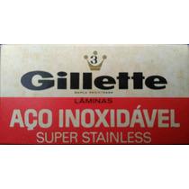 Gillette Aço Inoxidável Caixa 03 Lâminas De Barbear Antiga