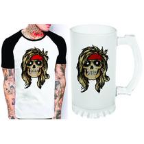 Kit Camiseta E Caneca Caveira Guns N Roses Rock N Roll 384