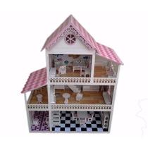 Casa Casinha De Boneca Em Mdf Pintada Com Móveis