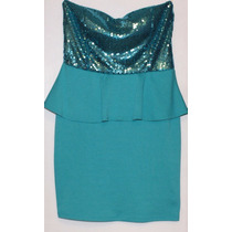 Vestido Nice Para El Antro Color Aqua Con Lentejuelas