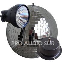 Combo Esfera Espejada N° 30 Motor Spot De Led 12w Bola Disco