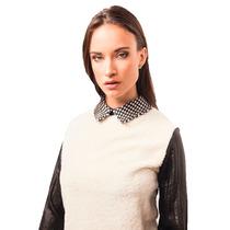 Camisa Blusa Corderito Natural Combinada C/gasa Negra Giacca