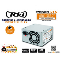 Fonte Atx 450w Tda 24+4 Pinos +2 Cabo Força Sata Bivolt