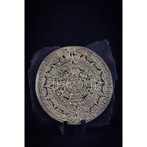 Escultura Calendario Maya O Azteca Mediano Plata 999