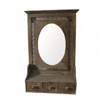 Espelho Rústico De Parede Com 3 Gavetas Marrom Em Madeira