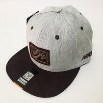 Boné Nike Sb Aba Reta Snapback Logo De Couro Lançamento