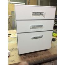 Bm Cajonero , Cocina Melamina ,bco 3 Cajones 80 Cm Aluminio