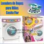 Lavadora De Ropa Juguete Casita Flor + Sonido + 6 Accesorios