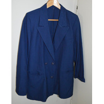 Saco Blazer Saquito Mujer Lino Azul Oficina