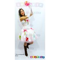 Vestido De Noiva Para Festa Junina + Par Luvas + Véu Caipira