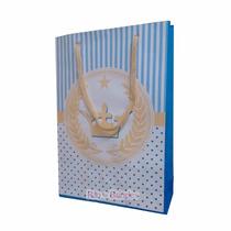 10 Sacola De Papel Realeza Princesa Coroa Azul 23x16x6cm