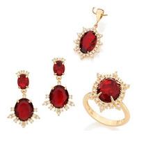Conjunto Rommanel Brinco+pingente+anel Cristal Vermelho