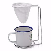 Mini Coador De Café+suporte Cromado+xícara Esmaltada Top