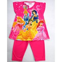 Pijama Conjunto Remera Y Capri Disney Princesas Fucsia