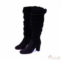 Bota Feminina Over Knee Zeket Em Couro Salto Bloco 2 Em 1