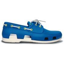 Zapato Crocs Caballero Beach Line Boat Shoe Men Azul Claro