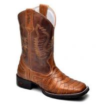 Bota Masculina Texana Bico Quadrado Escamada Country Couro