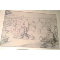 Antiguo Dibujo Indigenista Etnografico Costumbrista Coya