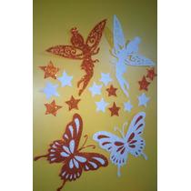 Figuras Decorativas En Goma Eva Glitter,mariposa A 2 Colores