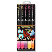 Chameleon Color Tones Kit Com 05 Canetas Cores Quentes