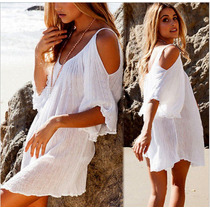 Vestido Playa Para Traje De Baño Blanco