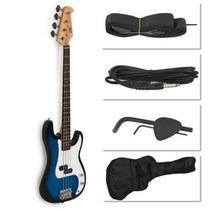 Azul Bajo Eléctrico Incluye Un Reloj De Caja De La Guitarra