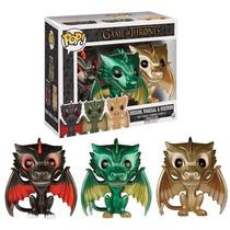 Funko Pop Drogon Rhaegal Viserion Metalicos Exclusivo Dragon