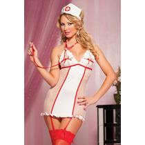 Moda Sexy Disfraz Enfermera Con Ligueros Cofia Vestido Tanga