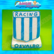 Escudo Racing Club Futbol En Porcelana Fria Adorno Torta