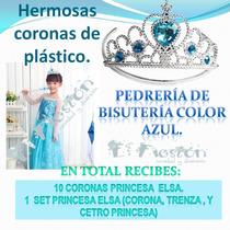 11 Coronas Princesa De Plástico,frozen Elsa,cetro Fiesta.