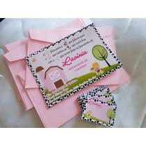 50 Convite Aniversário 10x15 Fazendinha Envelope E Adesivos