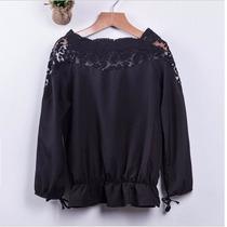 Camisa Blusa Feminina Renda Laço Importada Chiffon Pronta En