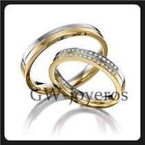 Alianzas De Oro 7grs El Par Con Diamantes