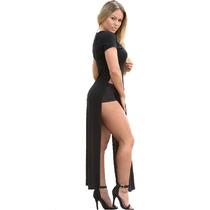 Maxi Remerón Vestido Largo Con Super Tajos. 50% De Descuento