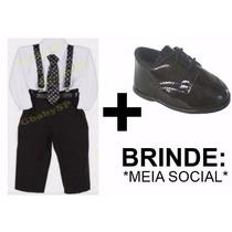 Conjunto Social Infantil Suspensório Bebê + Sapato + Brinde