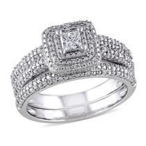 Diamante De Corte Princesa Anillo De Compromiso Y Boda Banda
