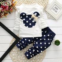Conjunto De Bebê Menina Minnie Azul Marinho Importado