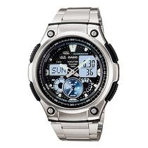 Relógio Casio Ana-digi Aq-190wd-1avdf + 5 Alarmes Hora Mundi