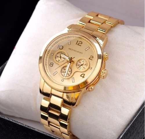 ced249b725f9e Relógio Feminino Dourado Estilo Michael Kors Lindo!!! - R  119