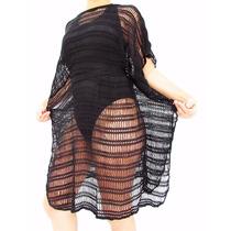 Vestido Arrastão - Blusa Saída De Praia Tipo Tricô E Crochê