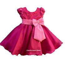 Vestido Infantil De Festa Rosa Pink Barbie Princesa E Tiara