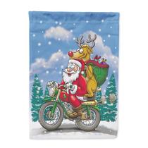 Navidad Santa Claus En Un Tamaño De La Bandera De La Motoci