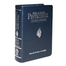 Bíblia De Estudo Pentecostal Média Com Harpa Luxo Azul