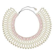 Collar Tipo Cuello De Perlas Y Piedras Rosas Tejido A Mano